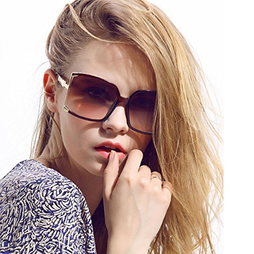 Aisa Women's Oversized Sunglasses 2016 New Fashion Square Frame Eyewear Goggles UV400 Protection Color Brown