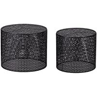 Adeco Round Nesting Side/End/Coffee Table, Black, Set of 2