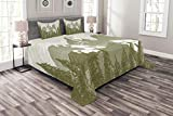 Lunarable Snowy Nature Bedspread Set King Size, Seasonal Trees in Wilderness Frozen Woods Artistic Retro Striped Art Print, Decorative Quilted 3 Piece Coverlet Set with 2 Pillow Shams, Khaki White