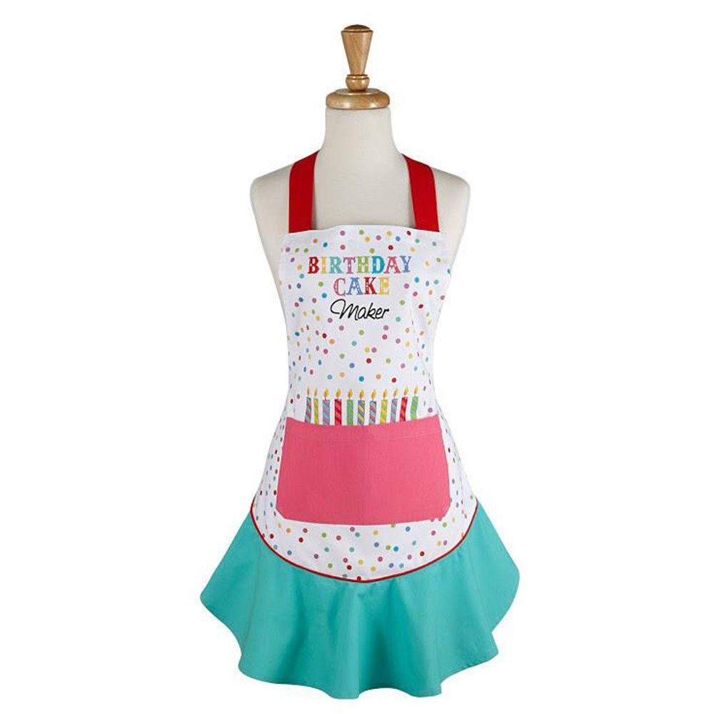 Birthday Cake Maker Ruffled Apron. Brightly Colored Cotton.