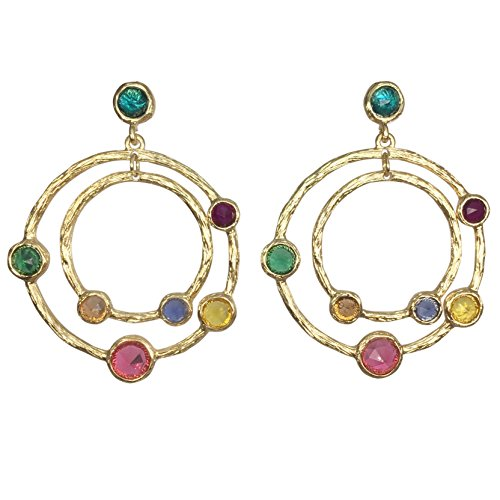 - Large Double Circle Multi Color Dot Gold Tone Post Dangle Earrings (Multi Color)