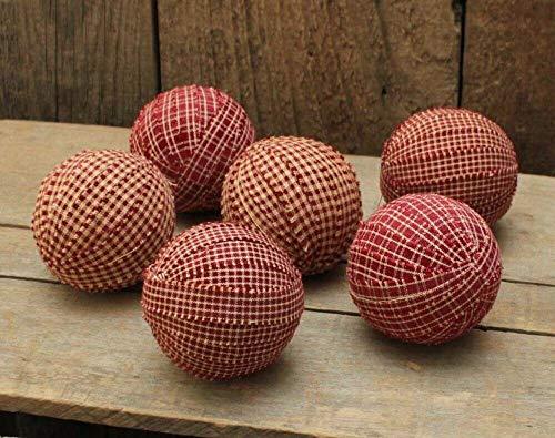 Primitive & Country Style 6 Homespun Rag Balls - Burgundy/Tan 2.5'' - Primitive Bowl Fillers Rustic Home Decor