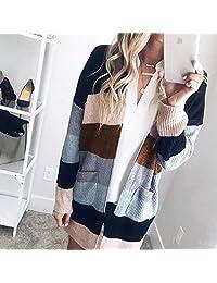 Abrigo de manga larga para mujer, con bolsillos