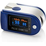 AVAX 50D - Finger Pulse Oximeter - %SpO2 (Blood Oxygen Saturation) & Heart Rate Monitor - colour OLED display with 6 modes and 4 display directions - with Instructions, Lanyard & Carry Case (in RETAIL PACKAGING) - BLUE