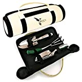 Superior Garden Tools Set with Trowel, Transplanter and Rake by ROCA Home. Great Father's Day Gardening Gifts. Garden Tools Case Included and Gardening Guide.