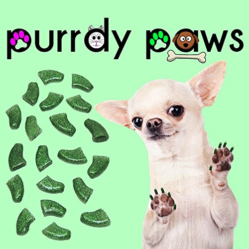 40-Pack Soft Nail Caps For Dogs Claws GREEN GLITTER XXL Purrdy Paws