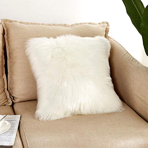 Super Soft Wool-Like Square Plush 4545CM Faux Fur Throw Pillow Case Without Pillow Inner