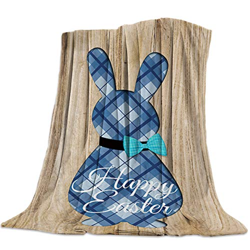 MuswannaA Ultra Soft Blanket Cute Rabbit Shaped Buffalo Grid Pattern Wood Board Fuzzy Light Weight Cozy Flannel Throw Blanket Fit Bed Couch Chair Sofa for All Season (King,60