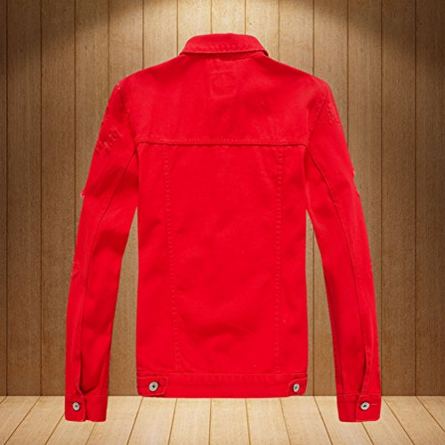 Rouge Simple Unisexe Manteau Mode Jean Slim Blousons Veste Yiiquan Revers Déchiré Denim qgdRPPwA5