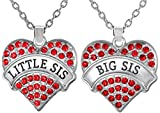 Matching Big Sis Lil Sis Red Crystal Heart Necklace Set Gift for Little Sisters BFF Friends