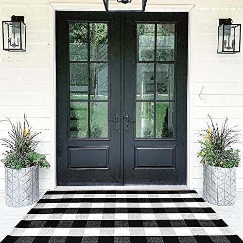 Buffalo Plaid Rugs Cotton Black and White Check Rug 35.4'' x 59''Hand-Woven Indoor/Outdoor Area Rug for Welcome Door Mat, Front Porch,Kitchen,Bathroom,Entry Way,Living Room