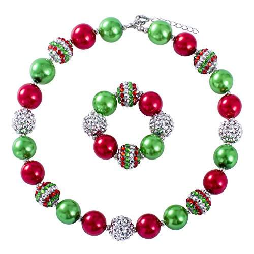 Christmas Red and Green Bubblegum Chunky Bead Necklace Gifts for Little Girls