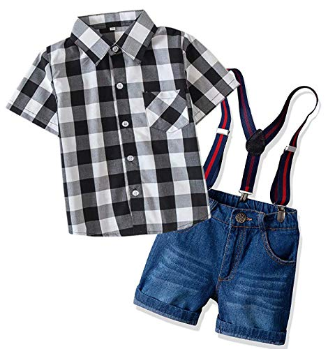 DAIMIDY Boys Dress Clothes, Short Sleeves Button Down Plaid Dress Shirt + Suspender Denim Jeans Shorts Set Summer Outfit 2 Pieces Clothing, Black White, 2-3 Years = Tag 100