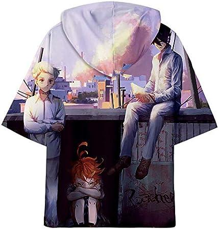 GuiSoHn Hombre Mujer Sudadera de Manga Corta 3D Imprimió T-Shirt Cosplay Camisetas de Manga Cortas Promised Neverland