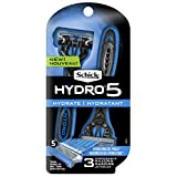 Schick Hydro 5 Mens Disposable Razor with Hydrating Gel Reservoir, Pack of 3 Disposable Razors