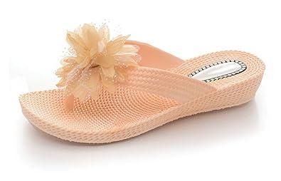 76ddbcb64c0c Ladies Womens Flower Flat Low Wedge Summer Beach Evening Toe Post Flip Flops  Shoes Sandals (
