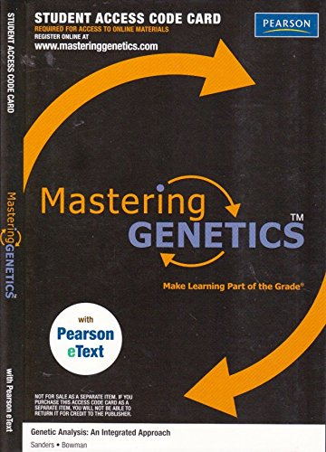 MasteringGenetics with Pearson eText -- Valuepack Access Card -- for Genetic Analysis: An Integrated Approach (ME Component) PDF