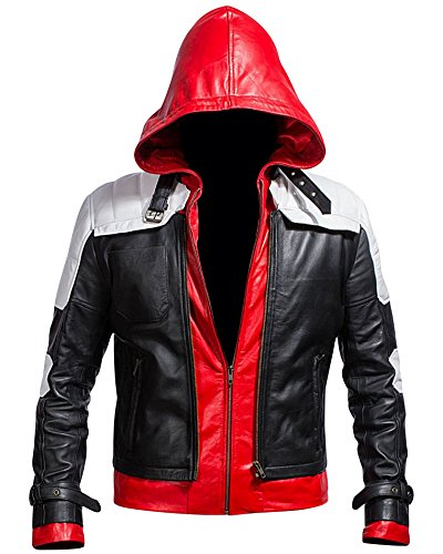 Superhero Bat Style Red Hood Men's Faux Leather Jacket + Vest (XX-Large, White)