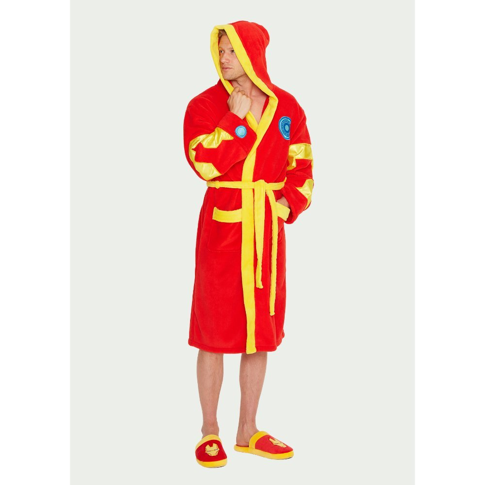 Mens Red Marvel Comics Iron Man Hooded Dressing Gown