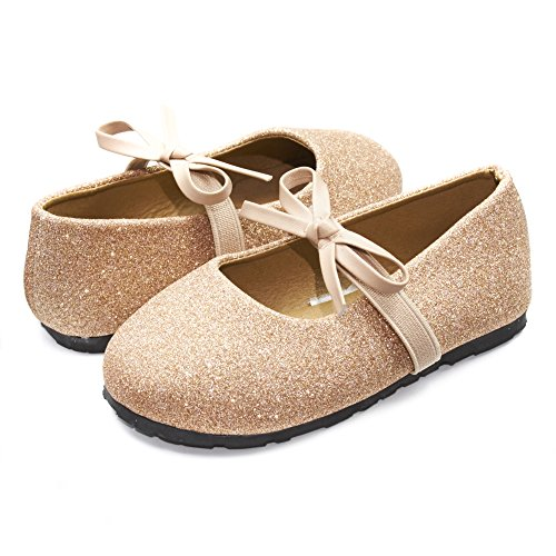 Sara Z Kids Toddlers Girls Glitter Ballet Flat Slip On Shoes With Elastic Strap and Bow Blush Pink Size 7/8 - Pink Ballerina Shoes With Elastic