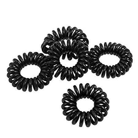 5, 10 or 25 Black or Colourful Ladies, Girls stretchy Elastic Phone Line Wire Coil Hair ponytail bands, hair ties, bobbles, gift bags by Fat-catz-copy-catz (10x colourful hair coils)