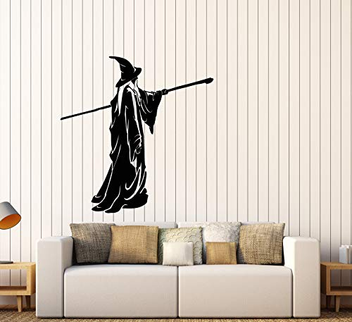 Vinyl Wall Decal Sorcerer Fantasy Fairytale Magic Staff Witch Stickers Large Decor (3032ig) Black ()