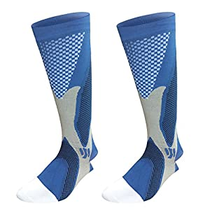 Graduated Compression Sock for Men Women Boost Performance Circulation Athletic Recovery Best for Running Nursing Blue Large/X-Large