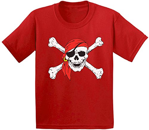 Awkward Styles Jolly Roger Skull & Crossbones Youth T shirts Kids Tees Pirate Flag Youth T shirts Kids Tees Red (Basketball Themed Halloween Costume)
