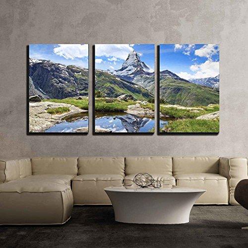 the Beautiful Mountain Landscape with Stellisee Lake Switzerland x3 Panels
