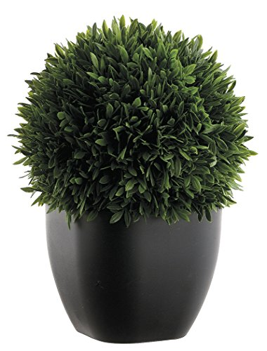 All Potted Artificial Tea Leaf Topiary Ball 11 Inches High, Indoor/Outdoor