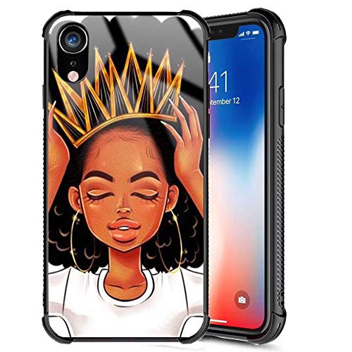 XanaduC iPhone XR Case,African American Afro Girls Women Slim Fit Shockproof Bumper Cell iPhone Accessories Black Tempered Glass Protective Apple iPhone XR Case 6.1inch - Queen Girls