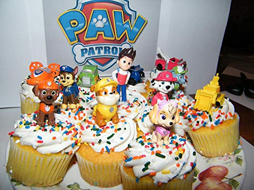 Nickelodeon PAW Patrol Figure Set of 12 Deluxe Mini Cake Toppers Cupcake Decorations Party favors Featuring Ryder, Marshall, Chase, Skye, 5 Vehicles and Special -