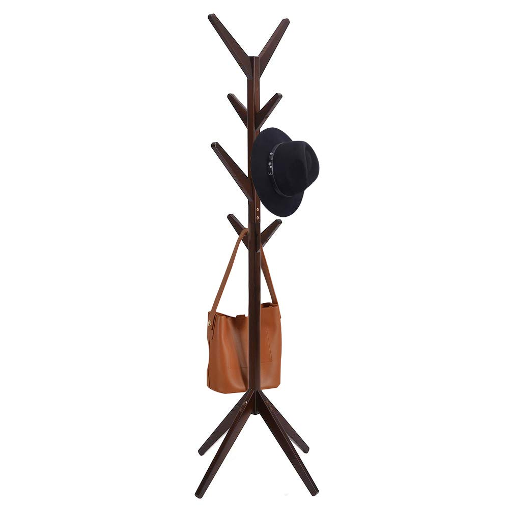 GMT SIX Idyllic Pine Coat Rack with 8 Hooks, Jackets, Hats, Bags and Gloves,Tree Hanger Bracket Sturdy and Stylish Design, Very Easy to Assemble Dark Coffee