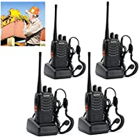 4 Pack BaoFeng BF-888S Portable Handheld 2-way Ham Radio with Original Earpieces + Baofeng Programming Cable (Support WIN7,64 Bit) -Customize 4pack Package