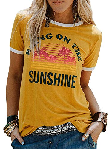 Govc Womens Casual Summer Graphic T Shirts Bring On The Sunshine Printed Short Sleeve Christian Tees Shirt Tops(Yellow,XL)