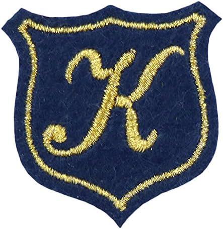 KIYOHARA イニシャルモチーフシリーズ イニシャルエンブレムワッペン K 約幅33mm×縦33mm 3枚入り IME-01
