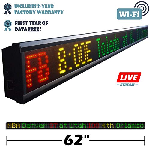Fantasy Sports Ticker 62-Inch LED Sign with Live Content, Displays Stats, Scores, Odds, Breaking News and Major Sports Coverage (Nfl Score Boards)
