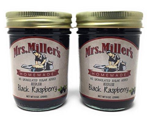 Mrs. Miller's Amish Homemade Seedless Black Raspberry No Granulated Sugar Added Jam 9 Ounces - Pack of 2 (No Corn Sugar) ()