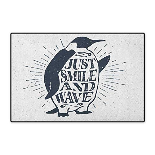 Inspirational,Door Mats for Home,Vintage Artwork with Emperor Penguin and Just Smile and Wave Quote Print,Door Mats for Inside Doorroom Mat Non Slip Backing,Black White,Size,20