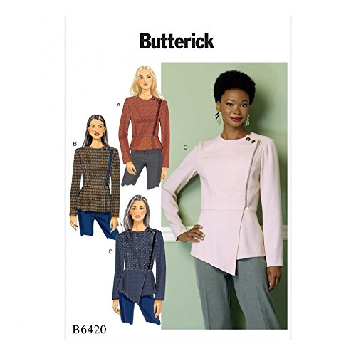 Butterick Ladies Sewing Pattern 6420 Asymmetrical Zip Peplum Moto Jackets