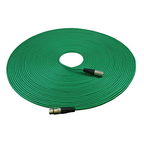 GLS Audio 100ft Mic Cable Patch Cord - XLR Male to XLR Female Green Microphone Cable - 100 Balanced Mike Snake Cord