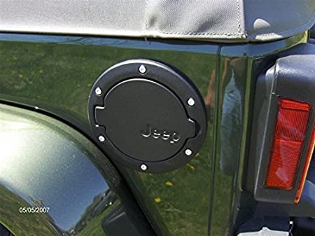BLACK WITH LOGO GG AUTOPARTS Gas Cap Cover for Jeep Wrangler 2007-2017