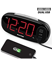 """Reacher Digital Alarm Clock with Dual USB Charging Port, Sample Operation, Easy Snooze, 6.5"""" Big LED Bedside Alarm Clocks for Bedrooms with Dimmer, Mains Powered"""