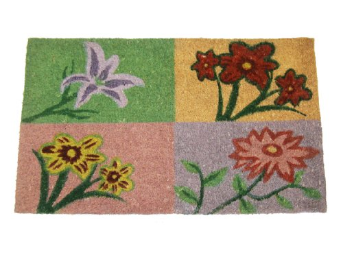 Geo Crafts 18-Inch x 30-Inch PVC Backed Coir Doormat, Flower Blossoms