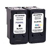 LiC-Store 2x (1 Black+1 Tri-Color) Remanufactured Ink Cartridge PG-240XL 240 XL CL-241XL 241 XL Compatible For Canon PIXMA MX472 MX452 MG3220 MG3520 MG2220 MX392 MX432 MX512 MG2120 MX522 Printer