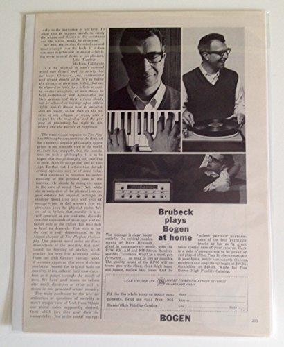 1963 Dave Brubeck Bogen Stereo Magazine Print - Stereo Bogen