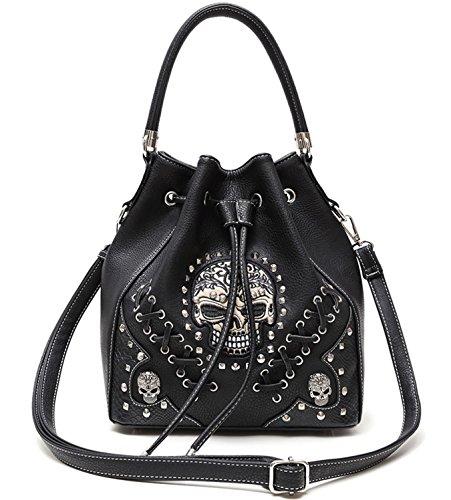 Sugar Skull Punk Art Concealed Carry Handbags Rivet Studded Biker Purse Women Fashion Python Shoulder Bag (Black)