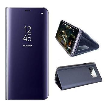 AURSEN Case de Teléfono para Samsung Galaxy S8 Plus, Flip Cover Carcasa, Soporte Plegable, Cierre Magnético - Color Púrpura