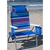 Folding Beach Chair with Insulated Cooler & Cup Holder Rainbow Stripe 5-position recline