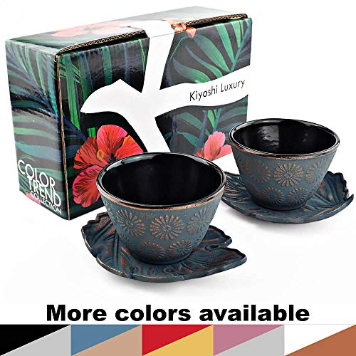 KIYOSHI Luxury Japanese Cast Iron Tea Cups Set 4 pieces - 2 Large Teacups (4,06Oz) + 2